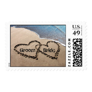 Two Hearts In Sand Wedding Love Postage Stamps