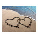 Two Hearts In The Sand Beach Postcard