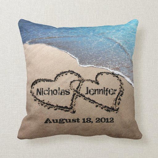 Two Hearts In The Sand Beach Wedding Pillow
