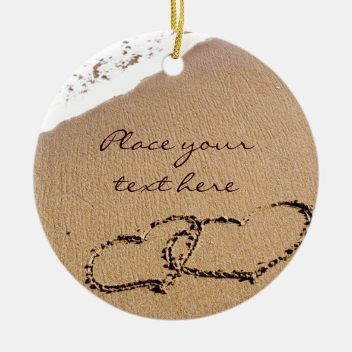 Two Hearts In The Sand Christmas Ornaments