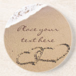 Two Hearts In The Sand Drink Coaster