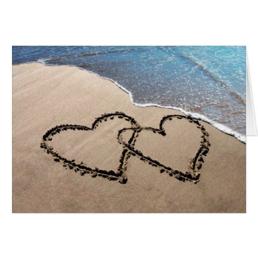 Beach Themed Two Hearts In The Sand Greeting Card