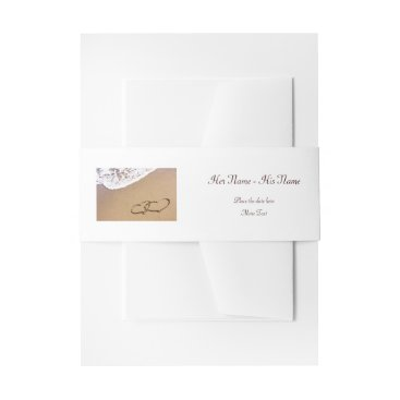 Two Hearts In The Sand Invitation Belly Band