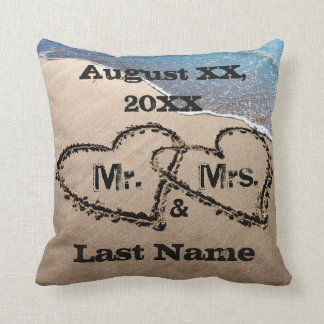 Two Hearts In The Sand Mr. & Mrs. Wedding Pillow