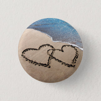 Two Hearts In The Sand Pinback Button