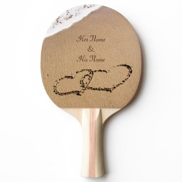 Two Hearts In The Sand Ping-Pong Paddle