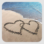 Two Hearts In The Sand Square Stickers