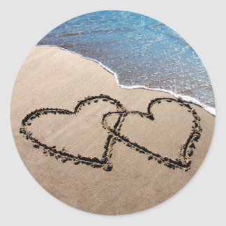Two Hearts In The Sand Stickers