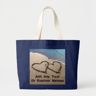 Two Hearts In The Sand Tote Bag