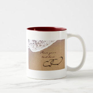 Two Hearts In The Sand Two-Tone Coffee Mug