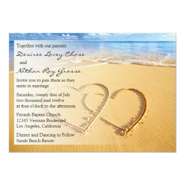 Beach Themed Two Hearts in the Sand Wedding Invitation
