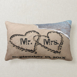 Two Hearts In The Sand Wedding Pillow