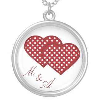 two hearts initials round pendant necklace