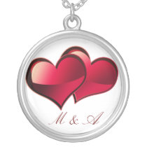 two hearts initials silver plated necklace