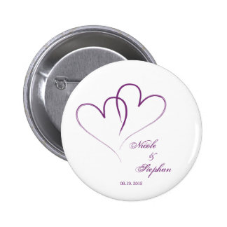 Two hearts intertwined 2 inch round button
