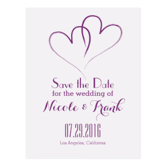 Two Hearts intertwined Save the Date -Purple Postcard