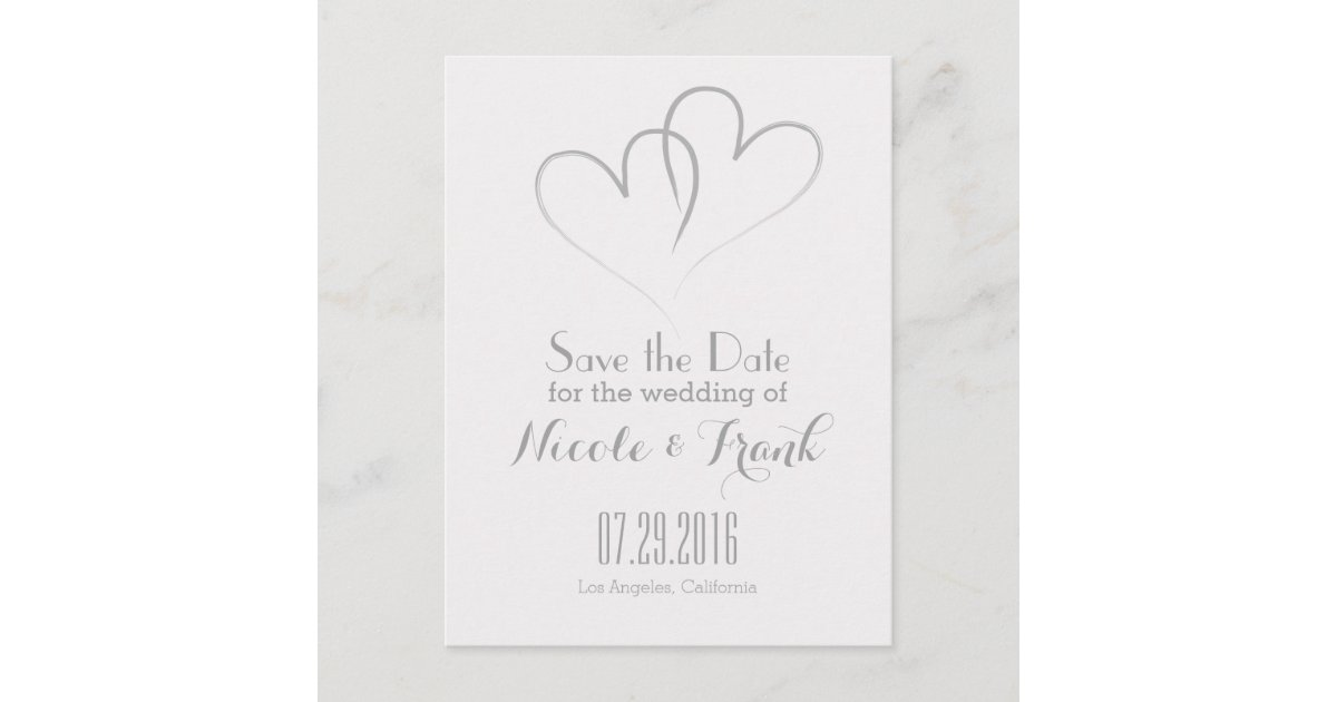 Two Hearts intertwined Save the Date -Silver Announcement ...
