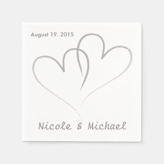 Two hearts intertwined Wedding Paper Napkins. Napkin
