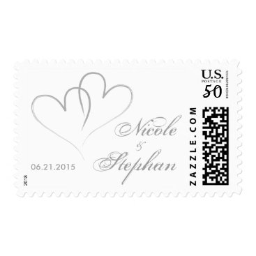 Valentines Themed Two hearts intertwined Wedding Postage