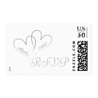 Two hearts intertwined Wedding Postage RSVP