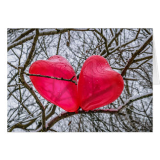 Two Hearts Kissing In A Tree Card