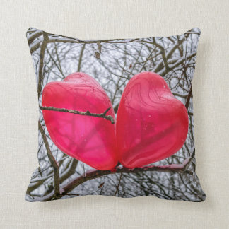Two Hearts Kissing In A Tree Throw Pillow