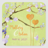 Two Hearts Lime Green Floral Save the Date Sticker sticker