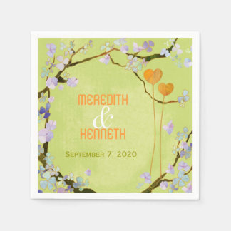 Two Hearts Lime Green Hipster Wedding Paper Napkin