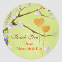 Two Hearts Lime Green Wedding Thank You Sticker sticker