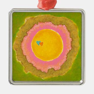 Two Hearts love romantic wedding art painting Metal Ornament