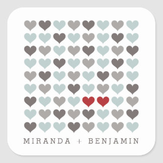 Two Hearts Modern Personalized Wedding Sticker