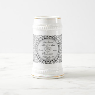 Two Hearts Monogram Wedding Pattern Beer Stein