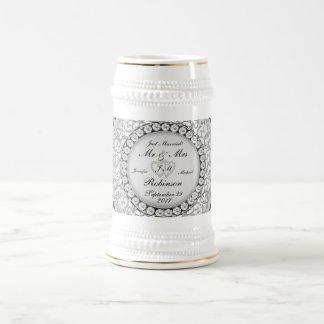 Two Hearts Monogram Wedding Pattern Beer Stein