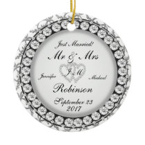 Two Hearts Monogram Wedding Pattern Ceramic Ornament
