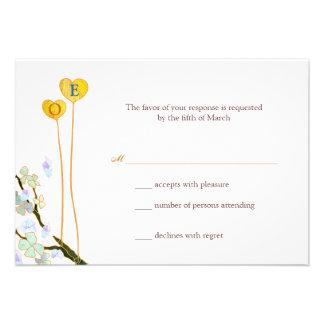 Two Hearts Monogram White Wedding RSVP 3 5x5 Custom Announcement