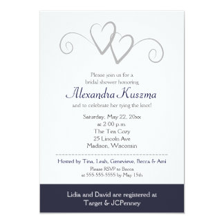 Two Hearts Navy & Silver Bridal Shower Invitation