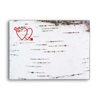 Two hearts on a birch bark envelope