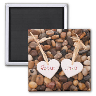 Two Hearts on a Pebble Beach 2 Inch Square Magnet