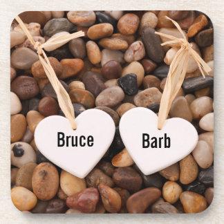 Two Hearts on a Pebble Beach Coaster
