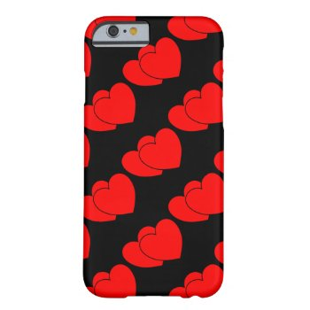 Two Hearts on Black Barely There iPhone 6 Case