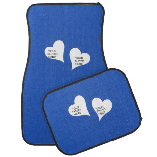 Two Hearts on Blue Add Photos Car Mat