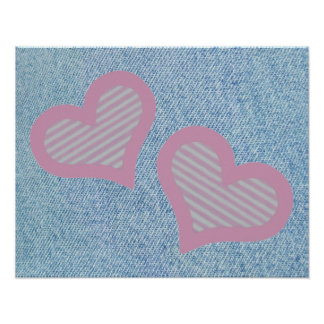 Two Hearts on Denim Poster