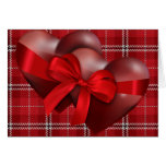 Two Hearts On Plaid Greeting Card