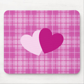 Two Hearts on Plaid Pinks Mouse Pad