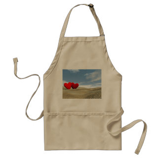 Two hearts on the beach - 3D render Adult Apron