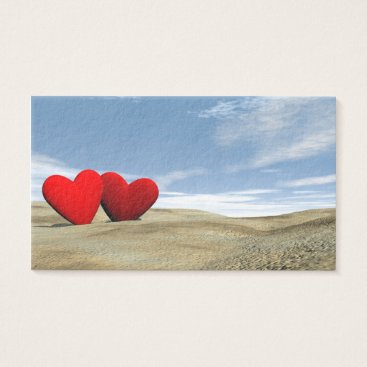 Beach Themed Two hearts on the beach - 3D render Business Card