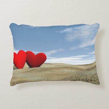 Beach Themed Two hearts on the beach - 3D render Decorative Pillow