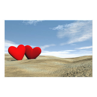 Two hearts on the beach - 3D render Stationery
