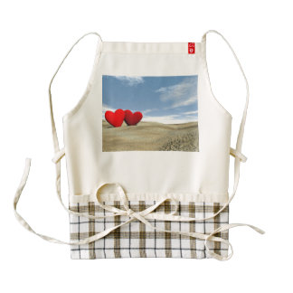 Two hearts on the beach - 3D render Zazzle HEART Apron