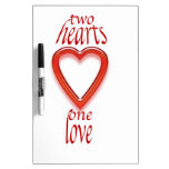 two heart's one love dry erase board